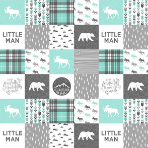 """(3"""" small scale) Little man - Fearfully and Wonderfully Made - Patchwork woodland quilt top  (light teal)"""