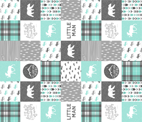 "(3"" small scale) Little man - Fearfully and Wonderfully Made - Patchwork woodland quilt top  (light teal) (90) fabric by littlearrowdesign on Spoonflower - custom fabric"
