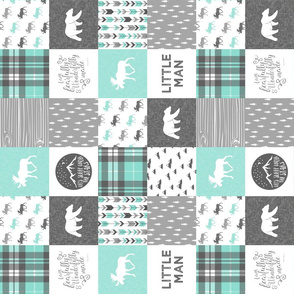 """(3"""" small scale) Little man - Fearfully and Wonderfully Made - Patchwork woodland quilt top  (light teal) (90)"""