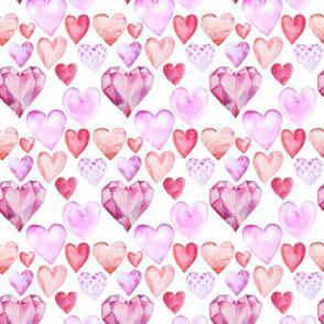 """Watercolor Hearts Valentine's Day Love 6"""""""