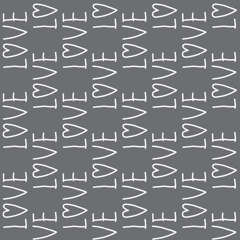 love-on-charcoal fabric by lilcubby on Spoonflower - custom fabric