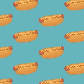 hot dog half drop on blue