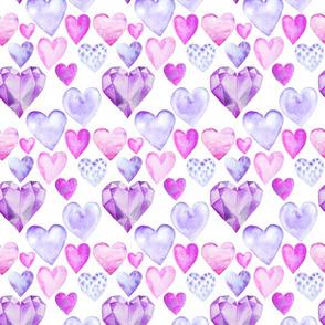 "Watercolor Hearts Purple 6"""