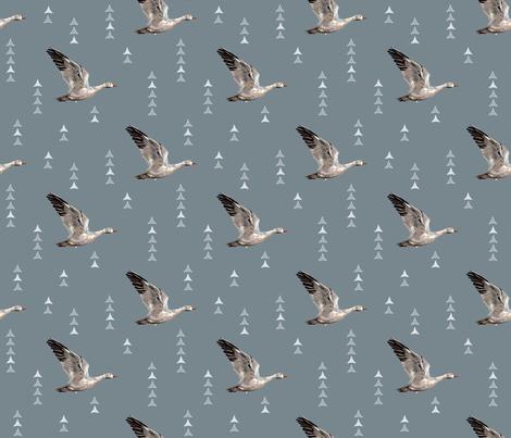 SNOW NOMAD - Migratory Snow Goose - Dk Blue - Large Scale fabric by aspenartsstudio on Spoonflower - custom fabric