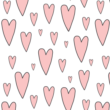 pink hearts on white fabric by lilcubby on Spoonflower - custom fabric