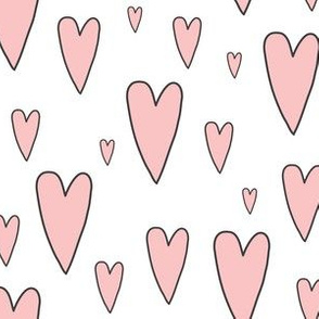 pink hearts on white