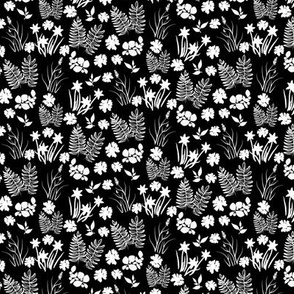 Black and White Crocus Coreopsis and Fern Overall