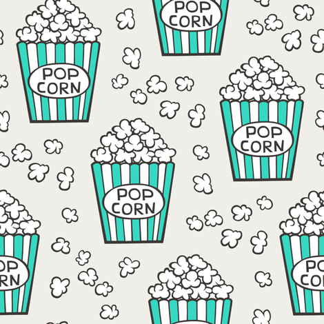 Popcorn Green on Cloud Grey fabric by caja_design on Spoonflower - custom fabric