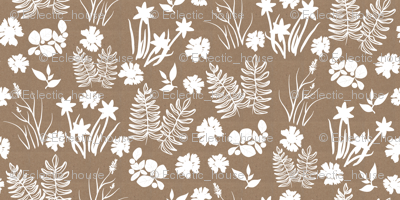 Brown Paper Crocus Coreopsis and Fern Overall