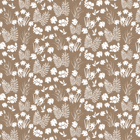 Brown Paper Crocus Coreopsis and Fern Overall fabric by eclectic_house on Spoonflower - custom fabric