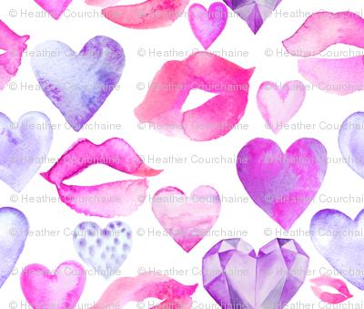 "Watercolor Hearts and Lips Purple 6"""