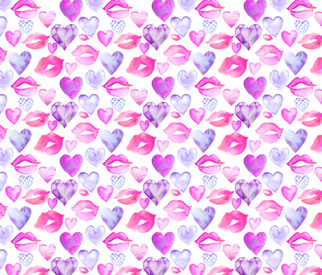 "Watercolor Hearts and Lips Purple 6"" fabric by greenmountainfabric on Spoonflower - custom fabric"