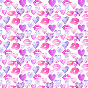 Watercolor Hearts and Lips Purple 6""