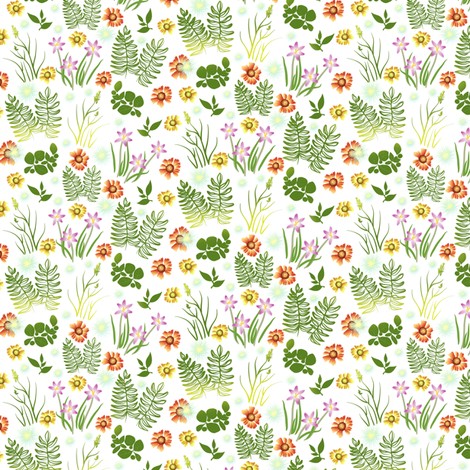 Multicolor Crocus Coreopsis and Fern on White Overall fabric by eclectic_house on Spoonflower - custom fabric
