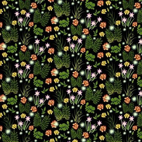 Multicolor Crocus Coreopsis and Fern on Black Overall