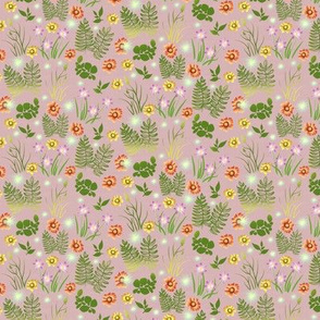 Multicolor Crocus Coreopsis and Fern on Pink Paper