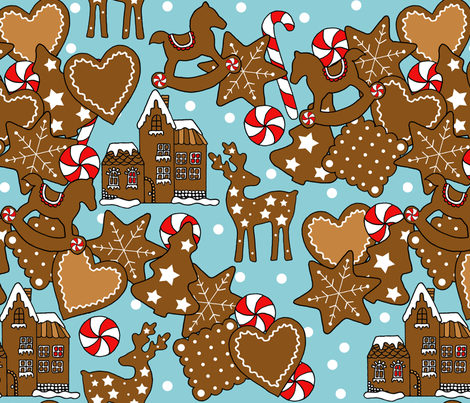 Gingerbread Snow Village fabric by annaostapowiczkulczycka on Spoonflower - custom fabric