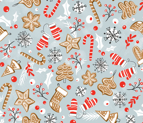 Gingerbread Dreams - Steel Gray fabric by heatherdutton on Spoonflower - custom fabric