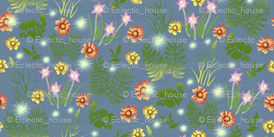 Rmulticolor-crocus-coreopsis-and-fern-on-blue-paper_preview