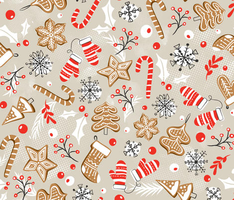 Gingerbread Dreams - Tan fabric by heatherdutton on Spoonflower - custom fabric