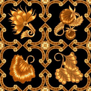 Jacobean Flower Print #1 in Black and Gold