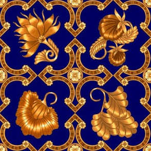 Jacobean Floral Print #1  in Deep Blue and Gold