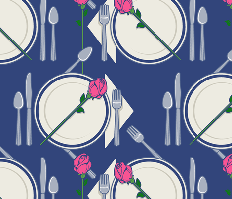 dinner with a rose fabric by hannafate on Spoonflower - custom fabric