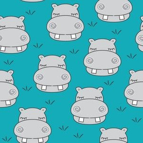grey hippos on dark teal