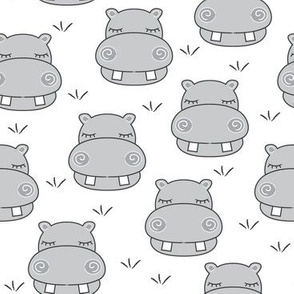 grey hippos on white