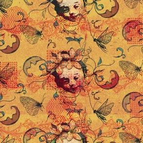 renaissance garden butterflies and leaves