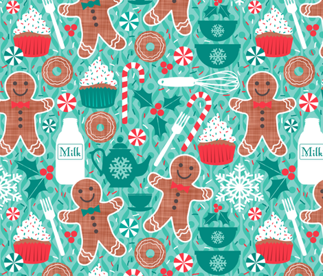 Gingerbread Christmas Treats fabric by run_quiltgirl_run on Spoonflower - custom fabric