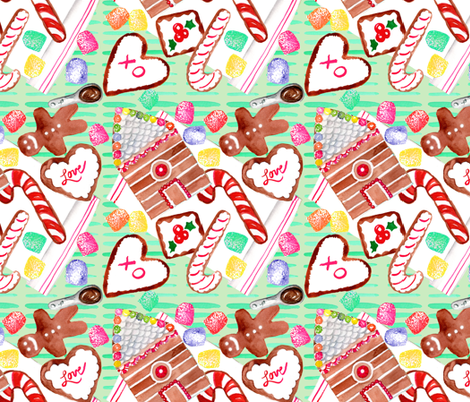gingerbread cookie pattern spoonflower fabric by artgirlangi on Spoonflower - custom fabric