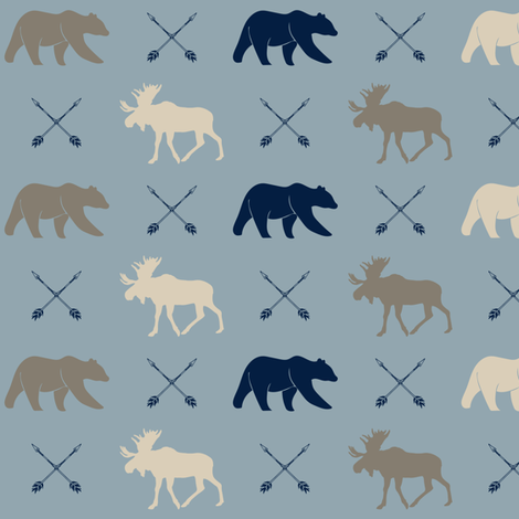 (small scale) rustic woods - moose bear and arrows fabric by littlearrowdesign on Spoonflower - custom fabric