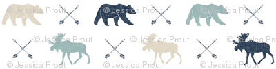 Moose bear and arrows - linen