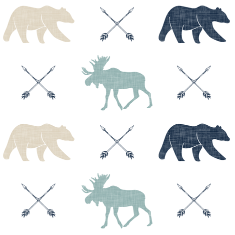 Moose bear and arrows - linen fabric by littlearrowdesign on Spoonflower - custom fabric