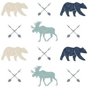 Moose bear and arrows - linen