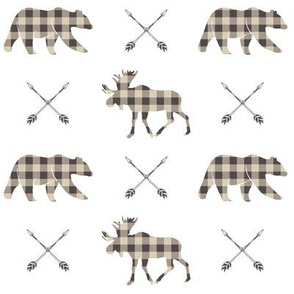 Moose bear and arrows - plaid - brown and tan