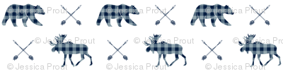 Moose bear and arrows - plaid - rustic woods
