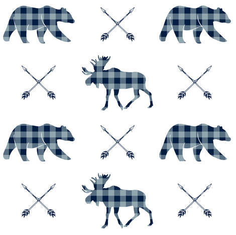 Moose bear and arrows - plaid - rustic woods fabric by littlearrowdesign on Spoonflower - custom fabric