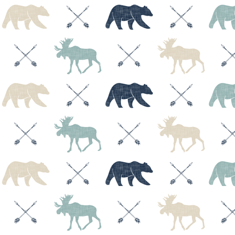 (small scale) Moose bear and arrows - linen fabric by littlearrowdesign on Spoonflower - custom fabric
