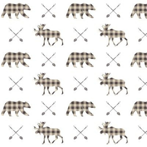 (small scale) Moose bear and arrows - plaid - brown and tan