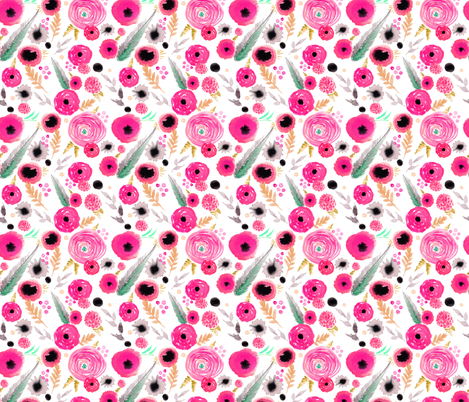 pink floral repeat pattern fabric by artgirlangi on Spoonflower - custom fabric