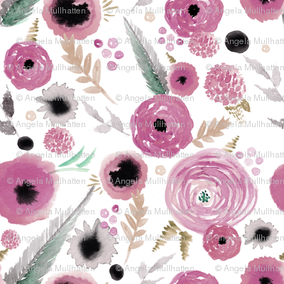 dusty pink floral repeat pattern