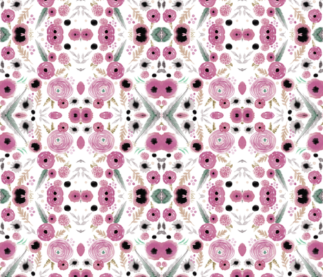 dusty pink floral repeat pattern fabric by artgirlangi on Spoonflower - custom fabric
