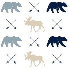 rustic woods - moose bear and arrows (white)