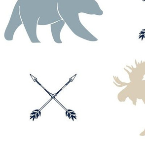 (jumbo scale) rustic woods - moose bear and arrows (white)