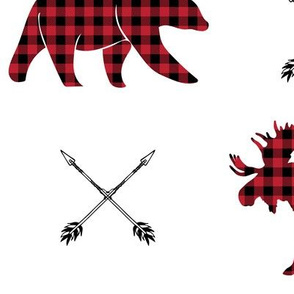 (jumbo scale) buffalo plaid - moose bear and arrows (white)
