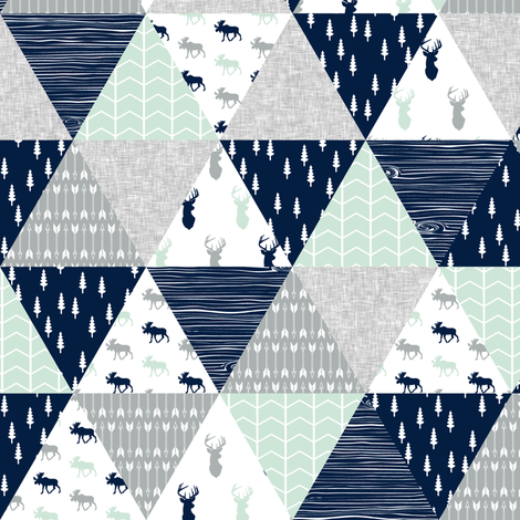 """(2"""" small scale) the northern lights triangle wholecloth (buck and moose) woodland quilt top fabric by littlearrowdesign on Spoonflower - custom fabric"""