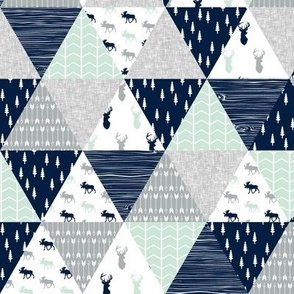 """(2"""" small scale) the northern lights triangle wholecloth (buck and moose) woodland quilt top"""