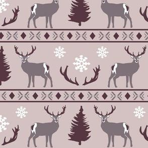 Winter deer in mauve pink